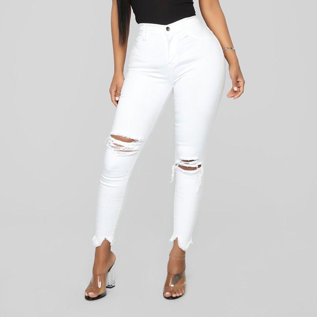 Denim pants female jeans high waist summer women's jeans Female Pockets Wash Denim white for women vaqueros mujer #G6