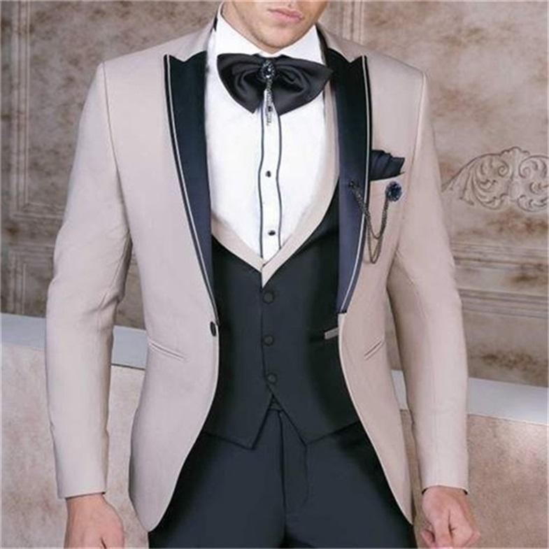 Smoking dello sposo Groomsmen picco risvolto su ordine One Button abiti da uomo da sposa / Prom / Cena Best Man Blazer (Jacket + Pants + Vest + Tie) M1531