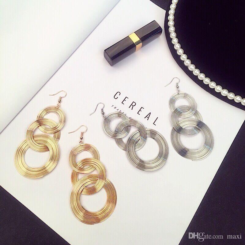 Maxi retro geométrica multi-camada círculo brincos de metal INS moda boate personalidade exagerada brincos para meninas frescas