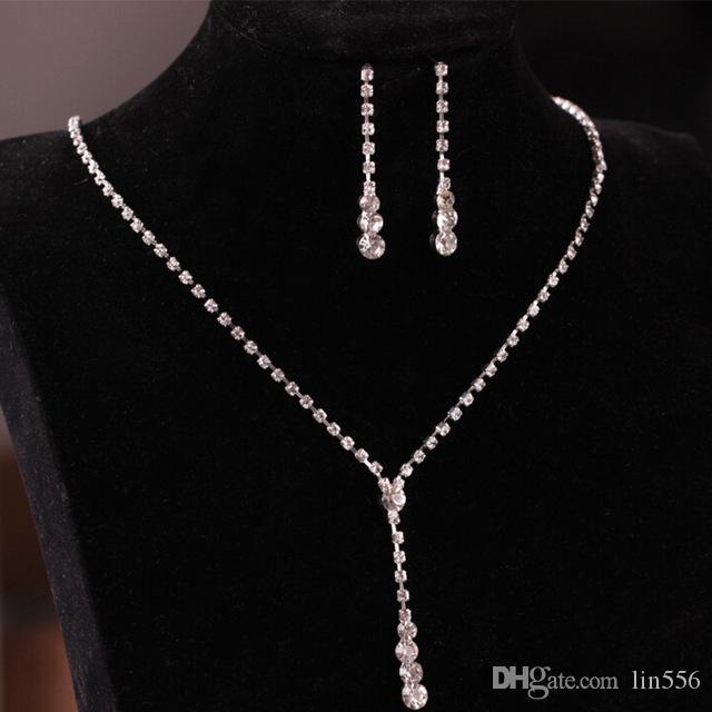 Регулируемая Посеребренная Ретроспектива Стиль падение серьги ожерелье кристалла; Bridal невесты свадебные комплекты ювелирных изделий
