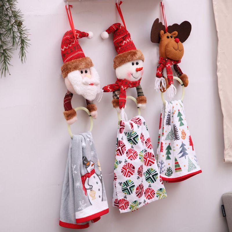 Salle de bain Père Noël Elk Rag Porte-serviettes anneau de suspension Porte d'arbre de Noël Pendentifs Décorations de Noël pour la maison Cuisine