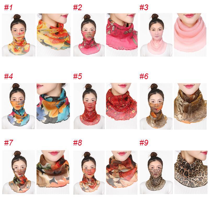 Bufanda de las mujeres de la mascarilla 11 estilos gasa de seda pañuelo al aire libre a prueba de viento de la media cara de polvo a prueba de Máscaras de protección solar
