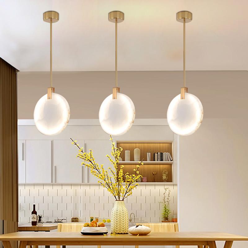 mármol natural colgante LED luces de tubo / cuerda del colgante luminoso comedor Bar Cafetería lámpara colgante cubierta Hanglamp Loft Deco
