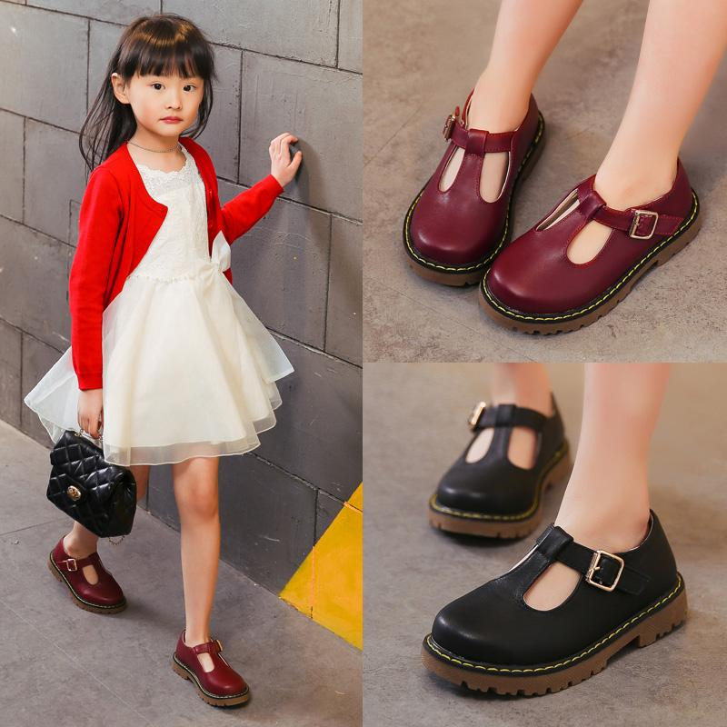 Koovan Children Girls Leather Shoes 2018 New Korean Children's Princess Shoes Black Primary School Students Dance Shoes