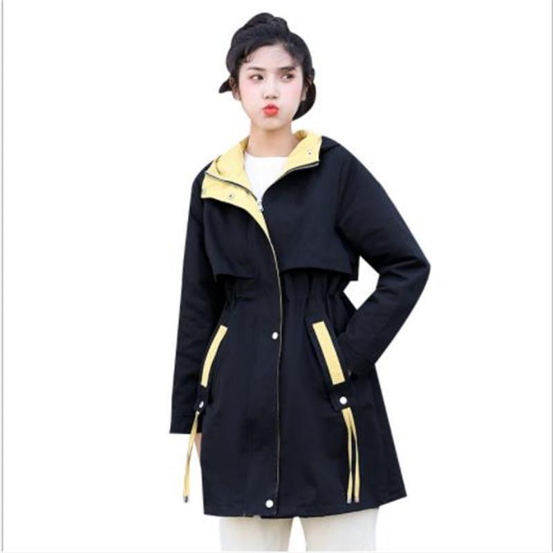 Женская траншея Пальто мода Женщины Пальто Весна Осень Осень 2021 Уличная Одежда Средняя Длинная Женская С Длинным Рукавом Слим с капюшоном Winbreb Overcoat M420