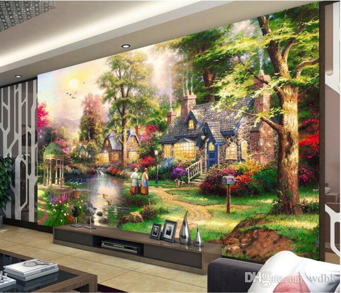Papel de pared 3d para sala de estar personalizado foto villa europea país río pintura al óleo paisaje habitación murales de pared 3d papel tapiz para paredes 3 d