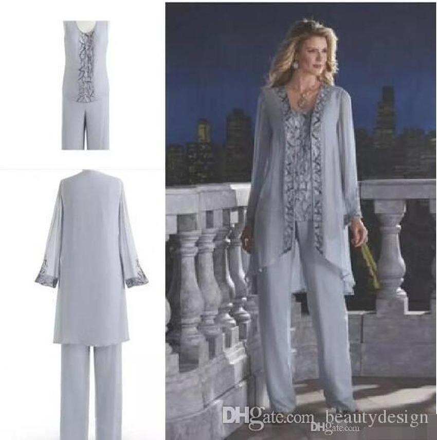 2020 Vintage Mutter der Braut Drei-teiliger Hose Anzug Chiffon Beach Hochzeit Mutters Bräutigam Kleid Langarm Perlen Hochzeit Gastkleid