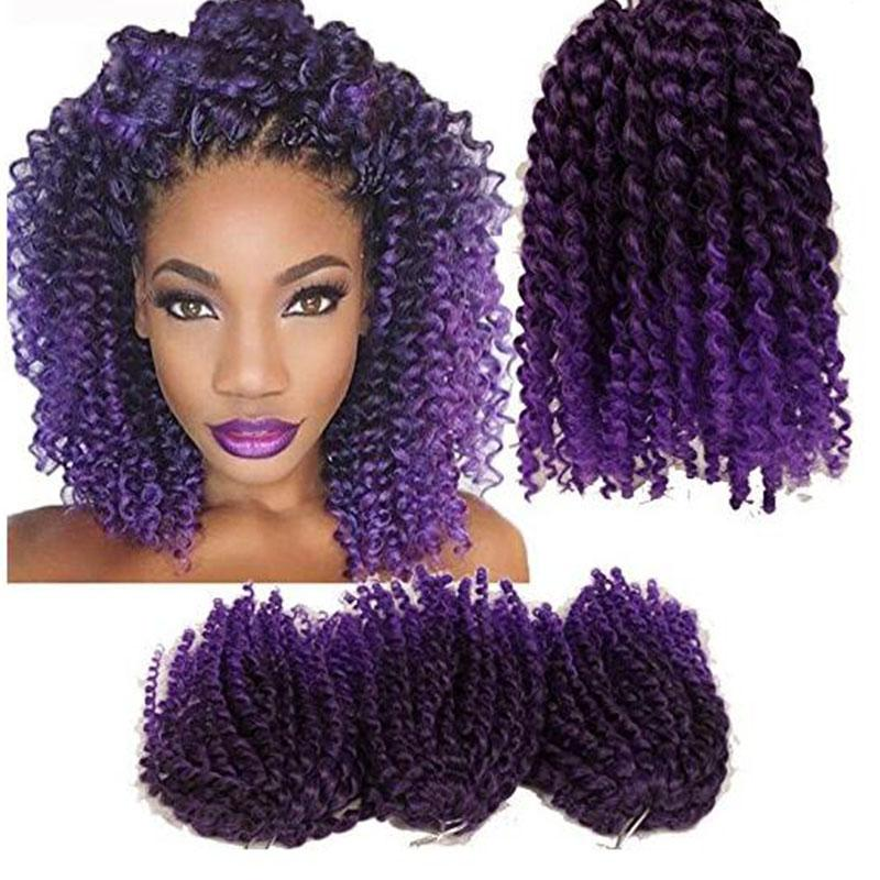 Afro Kinky Twist Hair Ombre Braiding Hair 3pcs/Pack 10'' Crochet Braids Synthetic Marlybob Curly Crochet Hair Pieces (T1B/purple)