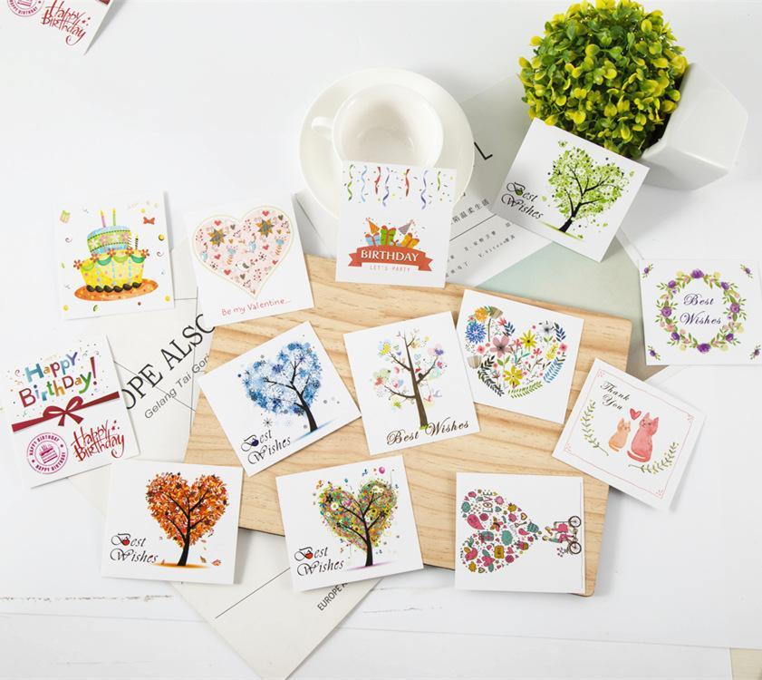 50 piezas de mini tarjetas de felicitación Mensaje de palabras Tarjetas de agradecimiento Felicitaciones Aniversario Boda Día de la Madre