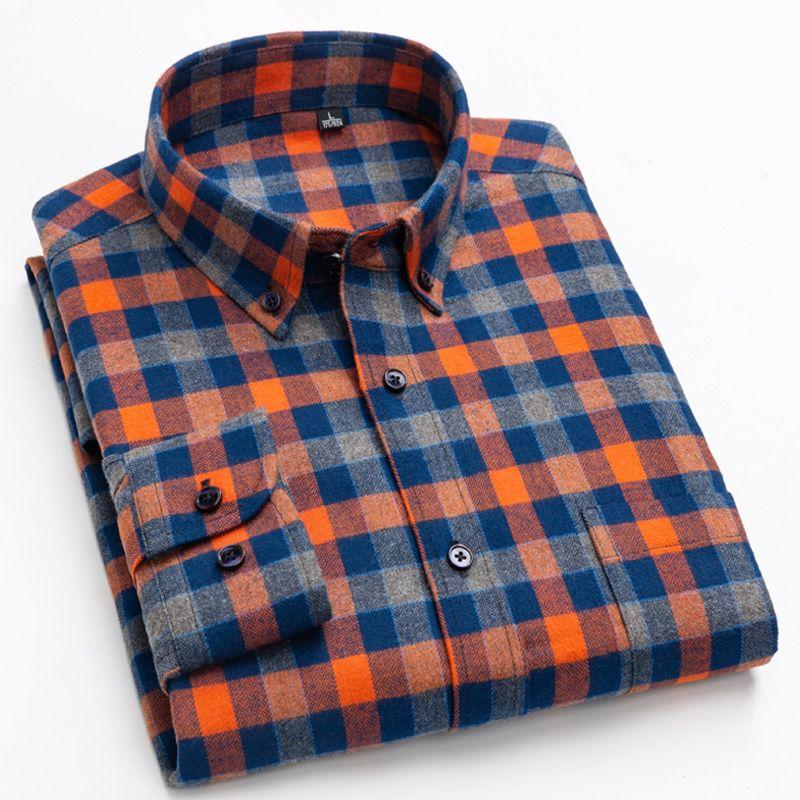 Männer Brushed Langärmlig-kariertes Hemd aufgesetzte Brusttasche Standardpassform prüfen karierte bequeme Baumwoll Thick-beiläufige Hemden MX200518