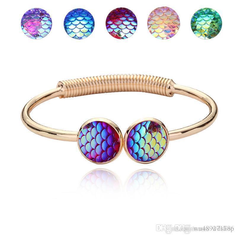 Jóias famosa marca com ouro / prata Plsated escala de peixes da sereia em forma de Charm Bracelet Bangle por Mulheres presente