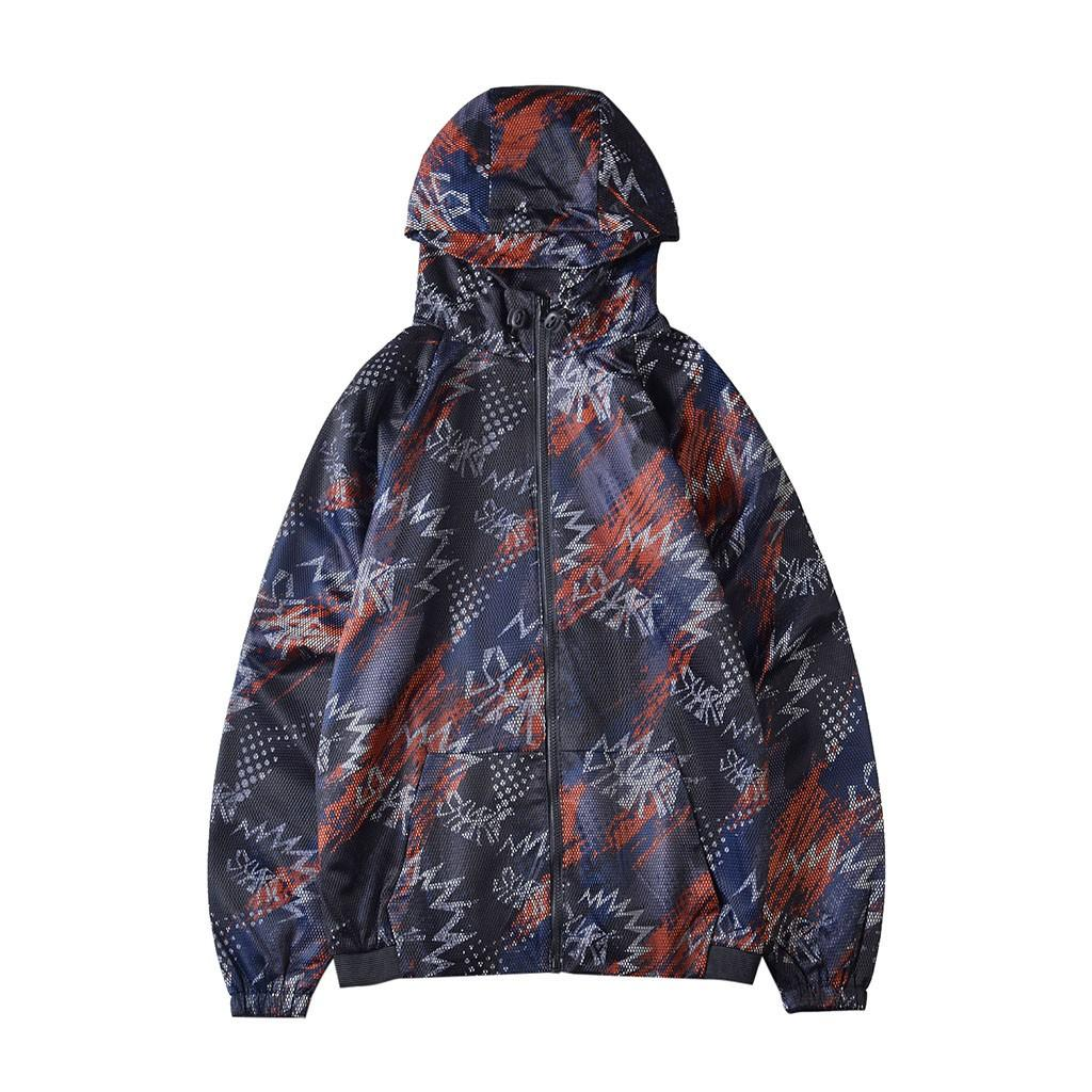 Veste coupe-vent hommes décontracté en plein air imprimé à manches longues avec capuche Fermeture à glissière Manteau d'extérieur Manteau chaud hommes chaqueta hombre