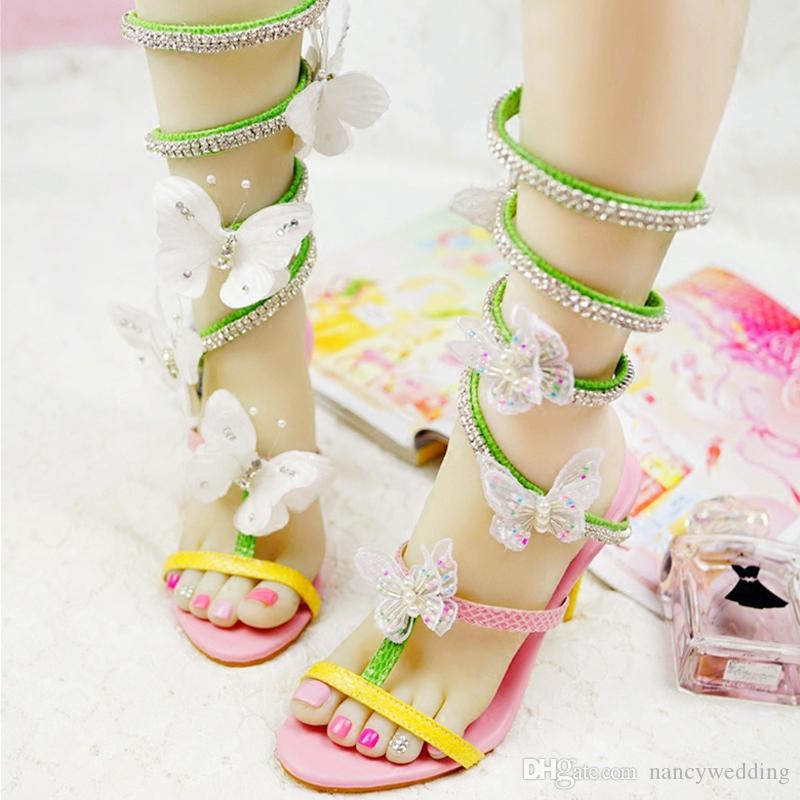 النساء المصارع الفراشة الصنادل حفل زفاف ملون أحذية عالية الكعب صندل التصميم الخاص الزفاف اليدوية حفلة موسيقية مضخات رائع التصميم