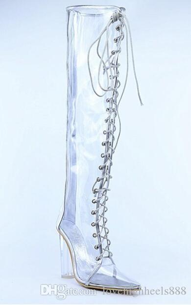 Moda mujer botas de tacón transparentes de PVC del muslo alto alto gladiador sandalias botines con cordones de tacón transparente botas de PVC transparente