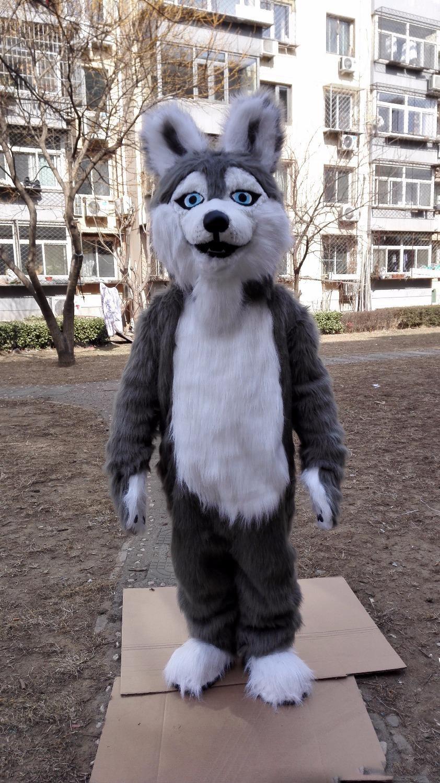 Costumi di Halloween cane husky del costume della mascotte del fumetto Top Quality grigio lupo Anime carattere tema natalizio Carnival Party