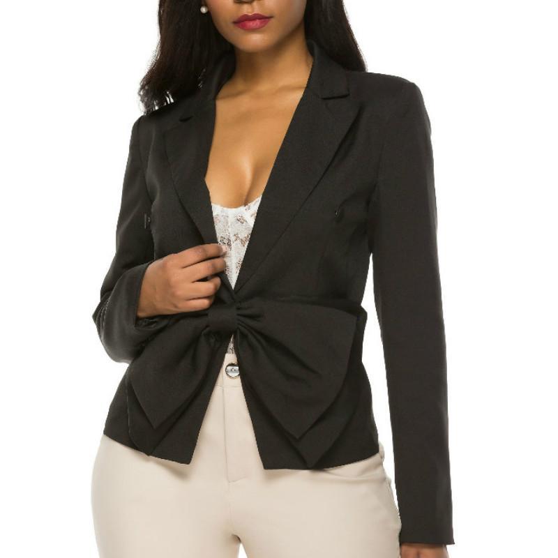 Mujeres de la chaqueta de Bowtie solo seno dentadas largas chaquetas funda delgada remiendo con clase modesta Oficina de Trabajo Negro Blazer verano nuevo