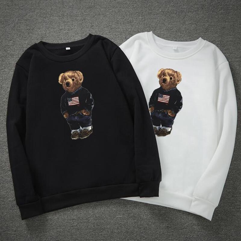 Winter dicke Bärendruck Hoodies für Männer Langarm Pullover Herren Designer Hoodies Mode O Hals Hoodies Männer versandkostenfrei