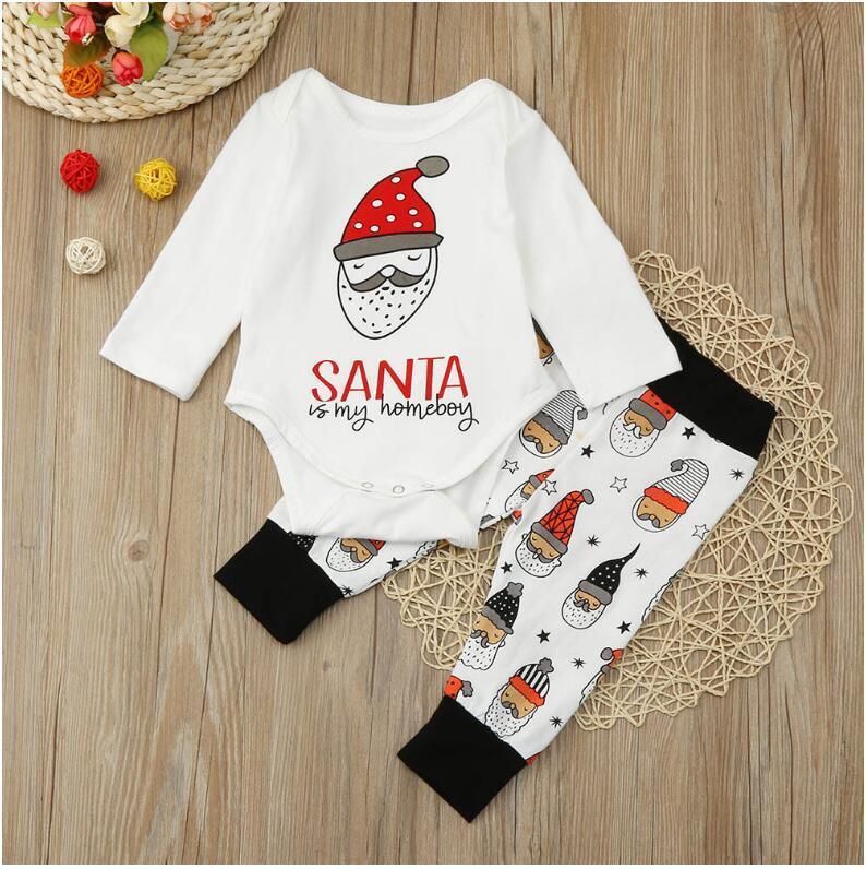 infantil terno de mangas compridas baby baby Natal macacão + calças 2 conjuntos de padrão de impressão tamanho 70 centímetros-100 centímetros
