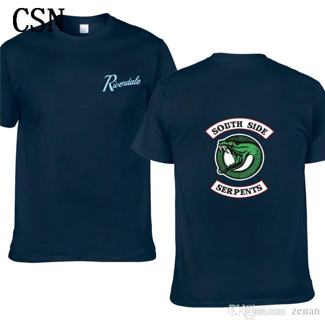 2020 Nova Riverdale Homens Mulheres Verão Green Snake Imprimir manga curta T-shirt da agitação Hip-Hop de algodão Imprimir T-shirt EL-3