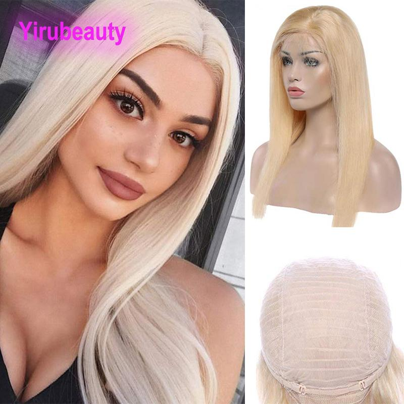 Raw Indian Virgin Hair 13X4 Lace Front Wigs Straight Human Hair Lace Front Wig Blonde 613# Light Color Hair Products Adjustable
