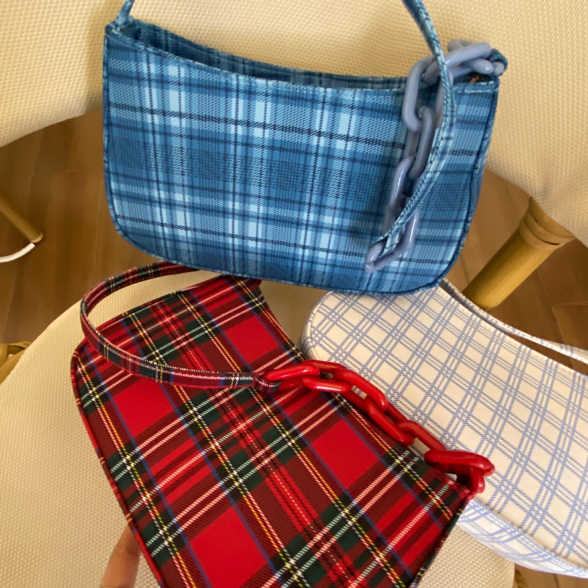 Sac d'été femme 2020 nouvelle poche chaîne sac épaule unique de mode rétro sac axillaire Plaid Baguette