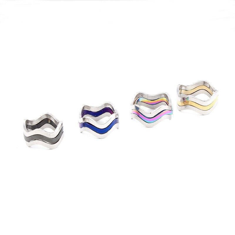 Anillo de compromiso de acero unisex de la manera de los hombres irregular hueco de onda de la banda de acero