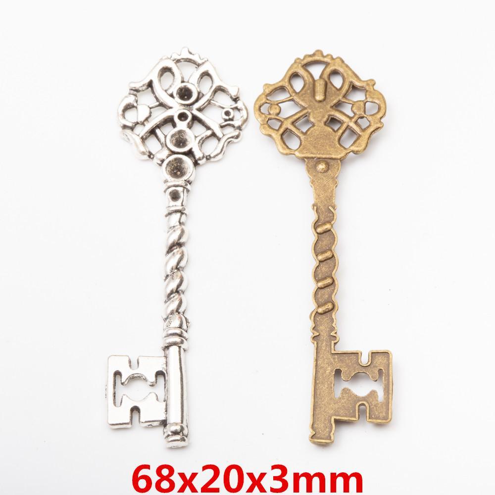 30pcs 68 * 20MM colore argento di fascini di chiave Bronze antico decorativo ciondoli chiave lega di metallo per il braccialetto orecchino gioielli fai da te