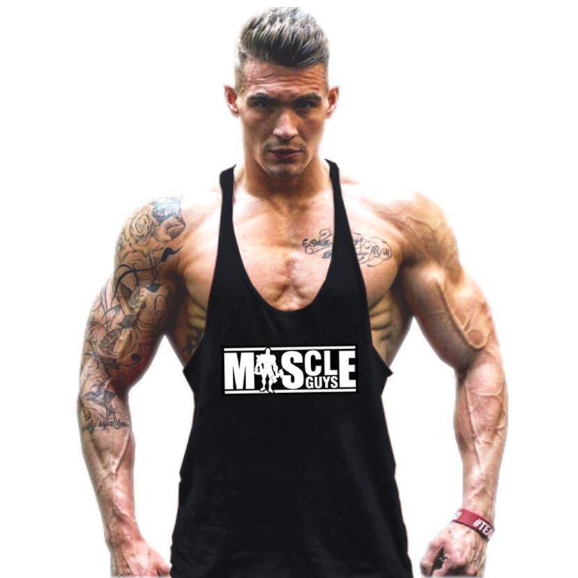 Bodybuilding Tank Top Fitness Singlets Muscle Vest Jersey Gym Men T-shirt