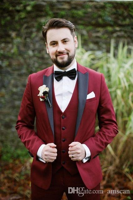 3 Pieces Men Burgundy Suits With Black Lapel Slim Fit Groom Tuxedos For Wedding Prom Party Dresses (Jacket+Pants+Vest) ZQ