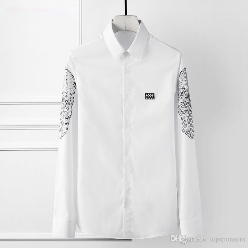 Erkekler Katı İnce Uzun kollu İş erkek Gömlekler Yüksek kalite Sosyal Camisas masculina Büyük Boy 4XL