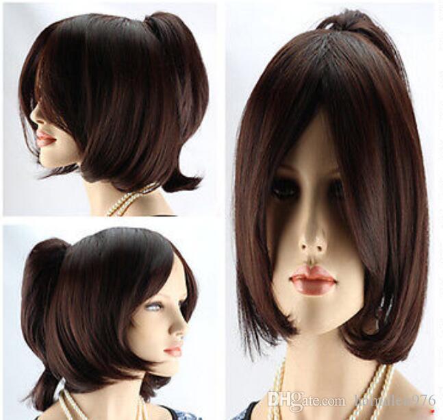 Grátis shippingNew Hot Sell! Moda curto marrom escuro peruca cosplay com peruca de uma mulher ponystal