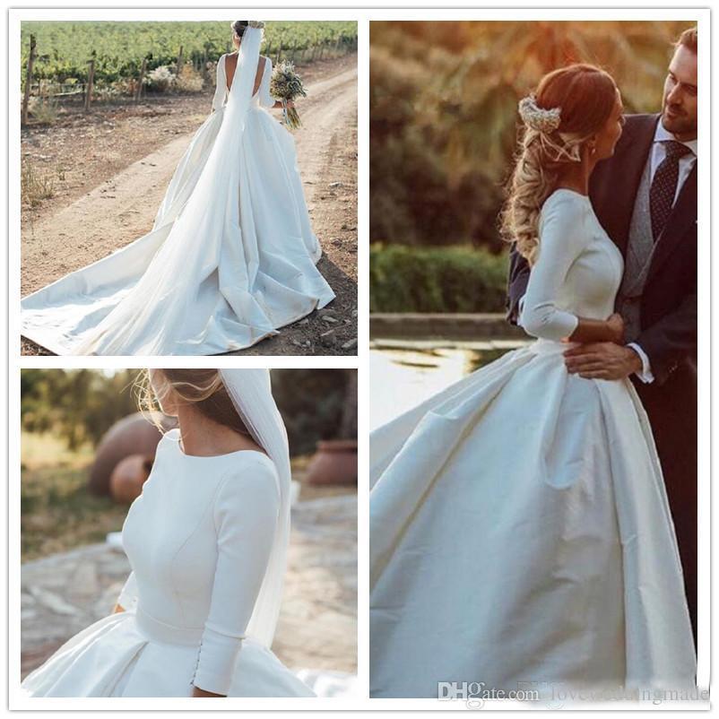 Vintage Satin A Line Brautkleider mit langen Ärmeln Sexy Rückenfrei Einfache Vestido De Nova Maßarbeit