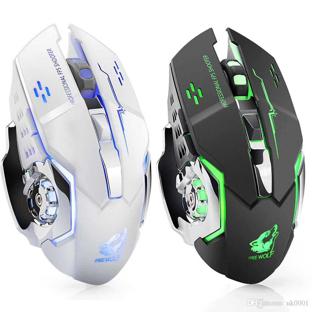 Hot Rechargeable X8 Wireless Silent LED Backlit USB Optical Ergonomic Gaming Mouse PC Computer Mouse For imac pro macbook/laptop uk0001