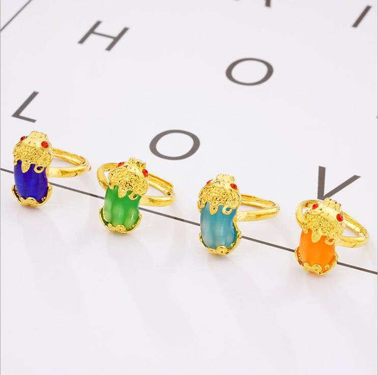 Huilin Jewelry Lucky Fortune Evil Ring Viet Nam Sha Jin Imitación Gold Inlay Opal Open Ring