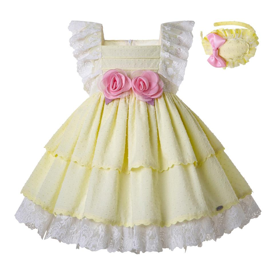 Pettigirl Summer Light Yellow Girls Dresses Lace Sleeves Flowers Wedding Party Dress With Bows and Accessory Baby Girl Clothes G-DMGD203-23