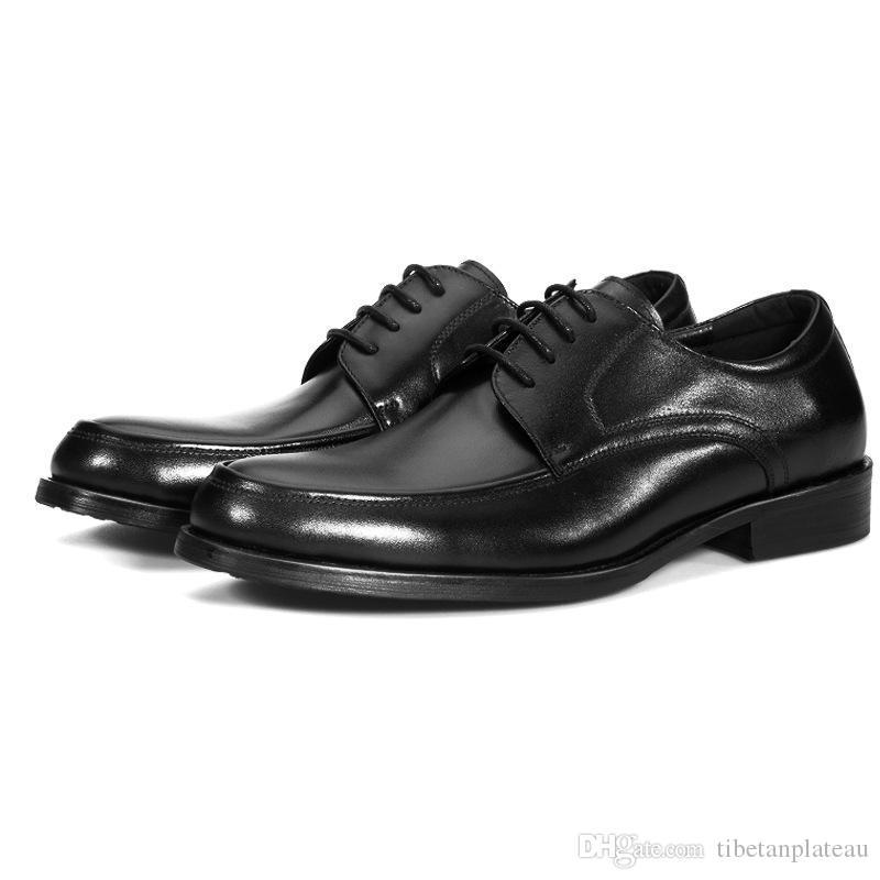 Большой размер EUR48 Черный Свадебная обувь Мужские ботинки платья из натуральной кожи Бизнес обувь