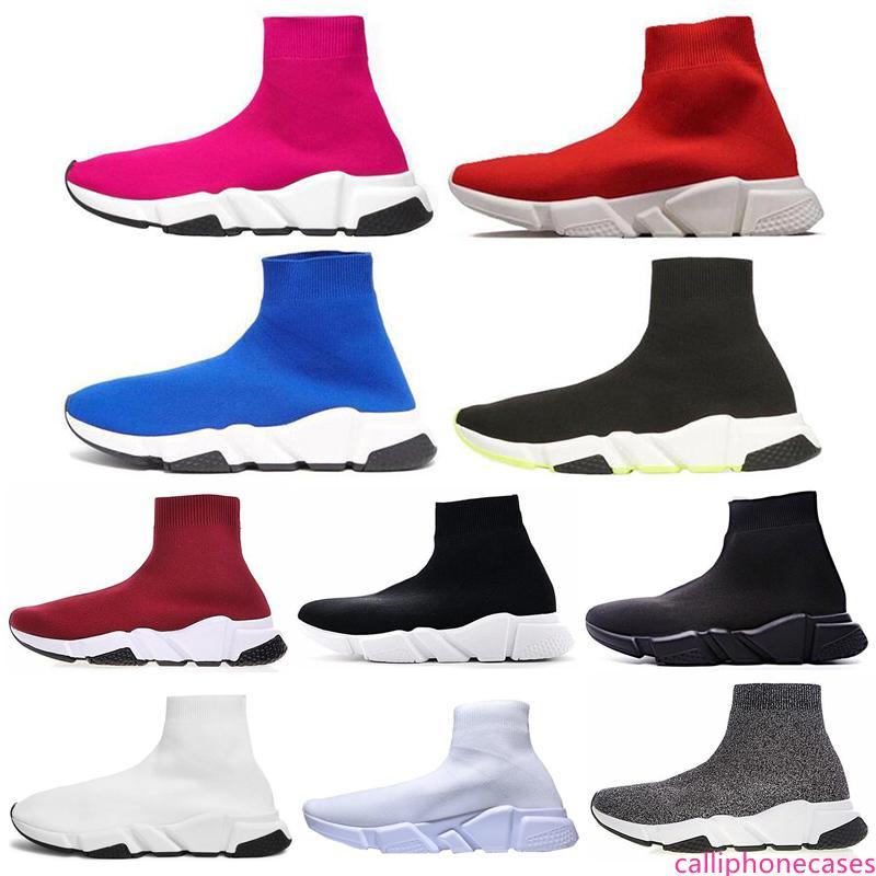 Novas mens Speed Trainer Triplo pretos brancos corredores Shoes vermelho brilhante vinho tinto Plano de Luxo Moda Meias Bota Designer Homens Mulheres Sneakers