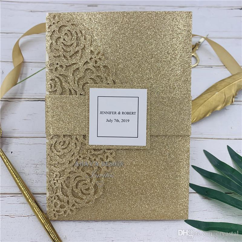 Rose Gold Glittery Laser Cut Pocket Fold With Floral Patterned Invitation, Provide Free Printing and Free shipping