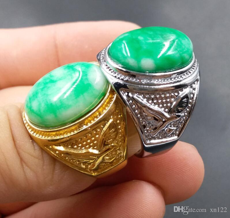 Grande Anel Jade Hanyu Anel 20 milímetros-22m seco Qingyang Green Men Anel Jadeite
