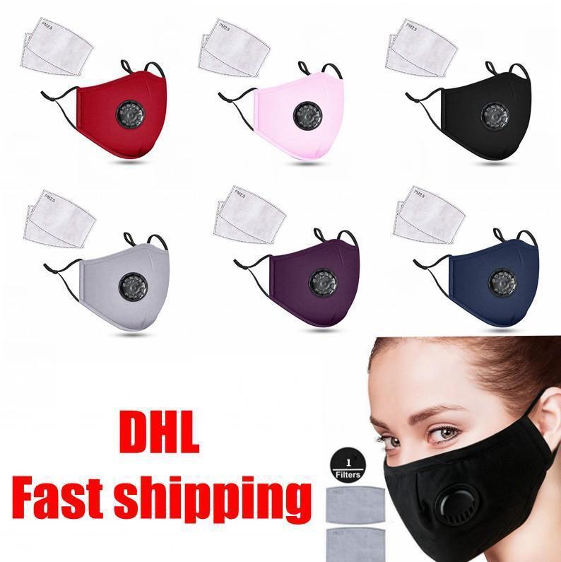 Бесплатный DHL с маскиными масками для судна Маска рта хлопчатобумажная мода дыхание клапана фильтры унисекс маска против пыли многоразовая ткань PM2.5 с лицом внутри Mjeap