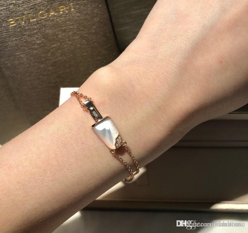 B bracelets pendentif chaînes crème glacée bijoux célèbre 925 bracelet en argent sterling femme bracelet vert blanc bague boîte d'origine