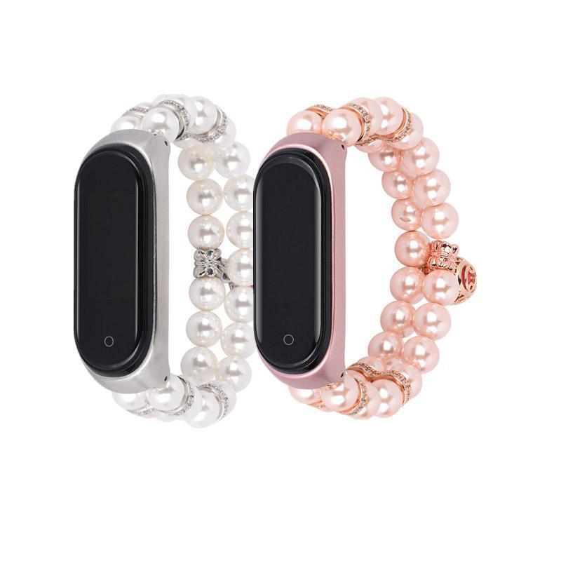 Mode féminine Perles Faux Bracelet de perles pour Xiaomi Mi Band 4 3 Bracelet de montre pour MIband4 dames Bijoux chaîne poignet ceinture