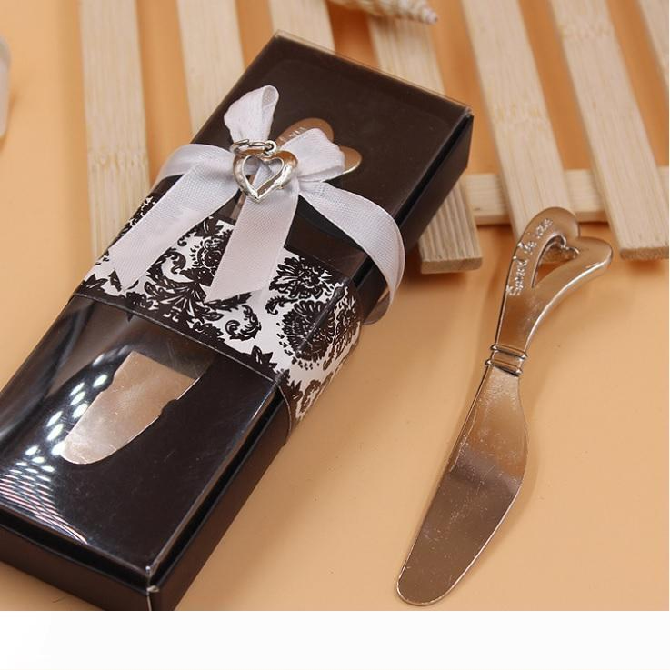 مقبض B انتشار الحب القلب سبائك على شكل زبدة الزبدة الموزعات السكاكين كعكة كريم سكين هدية عرس الحسنات wen5099