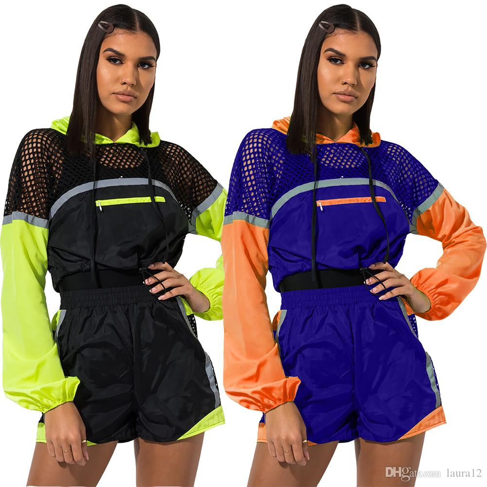 Newest Items Pannelled Casual Tracksuits Long Sleeves Hooded Top + Short Pants Two Pieces Women Girls Leisure Sport Suits 2019 Summer