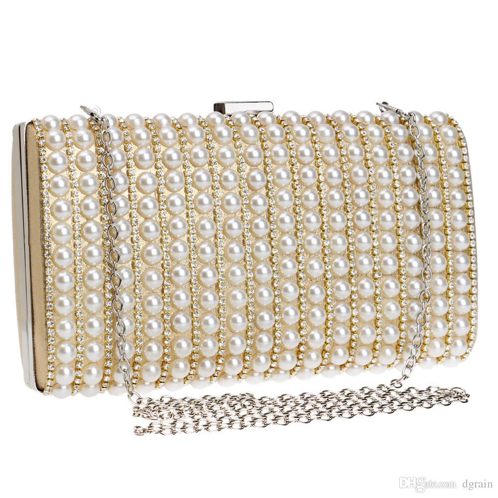 Designer 2019 Neue Prominente Frauen Strass Abendtaschen Hochzeit Party Perlen Kristall Handtasche Kristall Clutch Handtasche und Geldbörsen Wristlet Taschen