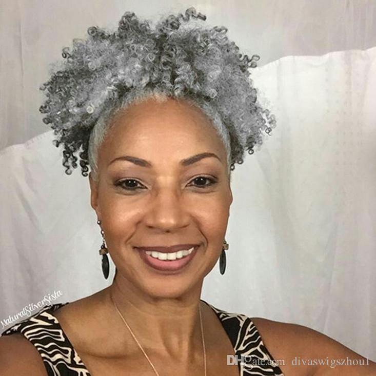Clip de pieza de cabello de cola de caballo de tejido de cabello gris en envoltura virgen humana afro rizado alrededor de cordón gris cola de caballo mujeres postizos 10-22 pulgadas