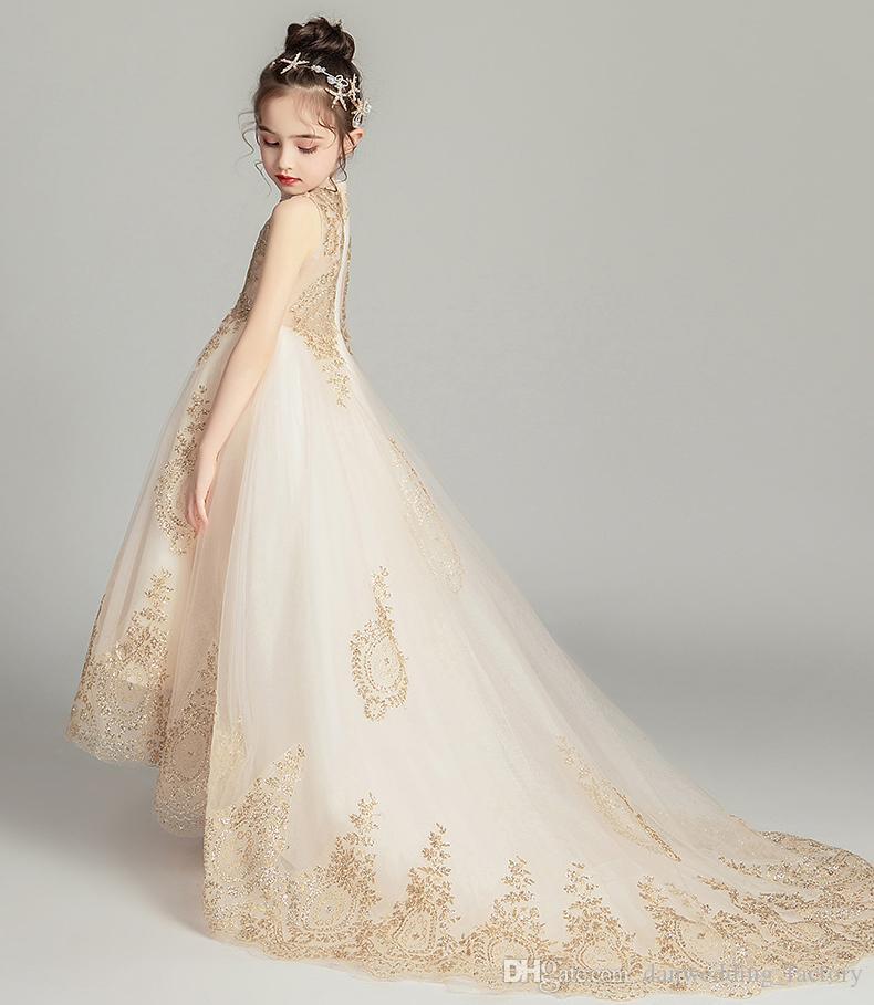 Reizende Champagne Tulle hohe Ansatz Applique Mädchen Pageant Kleider Blumenmädchenkleider Geburtstag Kleider nach Maß Größe 2-14 COP681