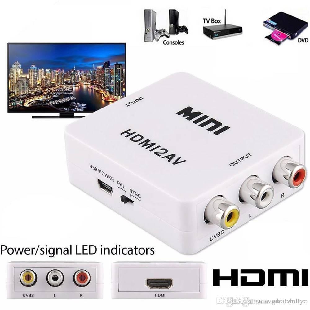 HDMI à RCA AV convertisseur de composants CVBS Scaler 1080P adaptateur boîte de câble pour Monito L / R vidéo HDMI2AV HD soutien NTSC PAL