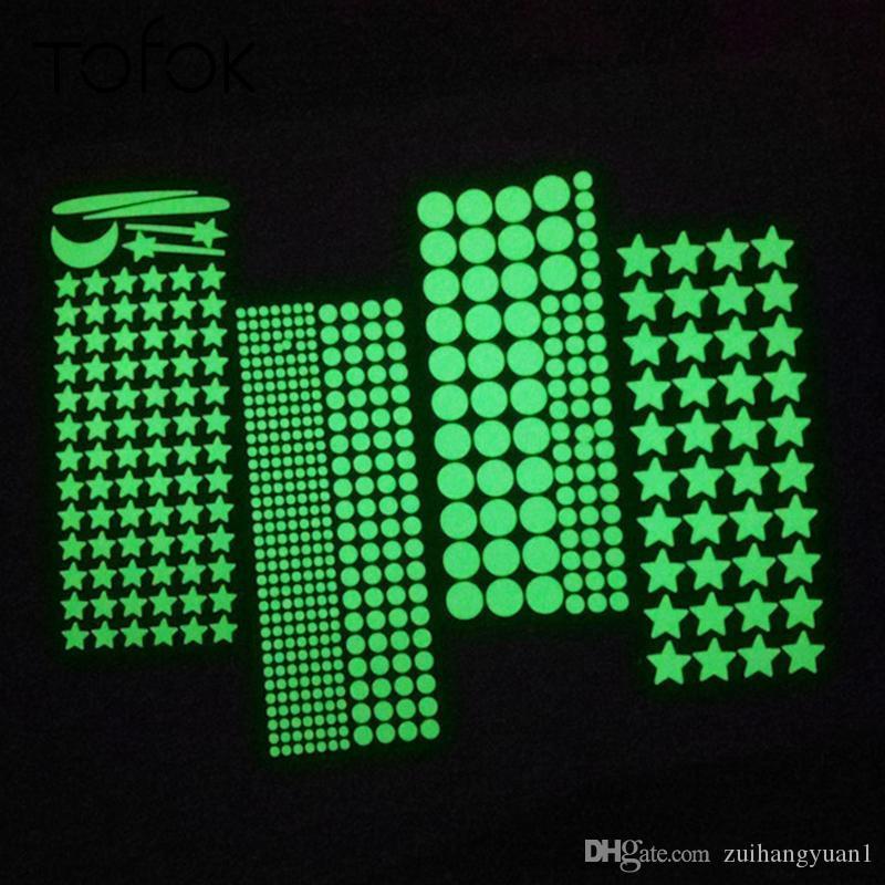 Tofok fai da te luminosa stella Dots Camera da letto della stanza del bambino bambini della decalcomania Glow in combinazione notte fluorescente da sogno decorazione domestica libera
