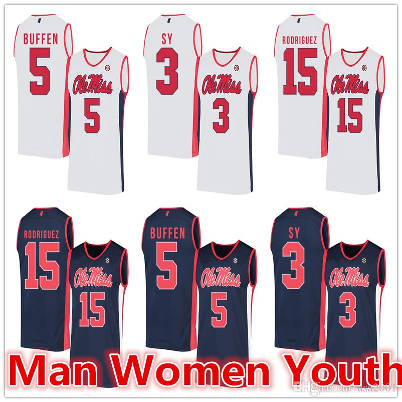 customize NCAA Ole Miss Rebels basketball jerseys Khadim Sy 3 KJ Buffen 5 Luis Rodriguez 15 jersey any number name size S-5XL